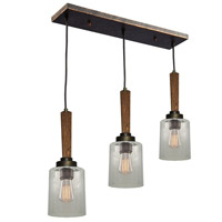 Legno Rustico 3 Light 26 inch Burnished Brass Island Light Ceiling Light