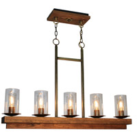 Legno Rustico 5 Light 38 inch Burnished Brass Island Light Ceiling Light