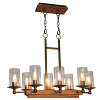 Legno Rustico 8 Light 33 inch Burnished Brass Island Light Ceiling Light