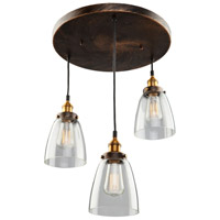 Greenwich 3 Light 10 inch Bronze and Copper Pendant Ceiling Light