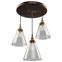 Artcraft AC10167 Greenwich 3 Light 19 inch Bronze and Copper Pendant Ceiling Light