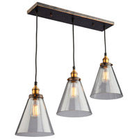 Greenwich 3 Light 30 inch Bronze and Copper Pendant Ceiling Light