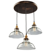 Greenwich 3 Light 13 inch Bronze and Copper Pendant Ceiling Light
