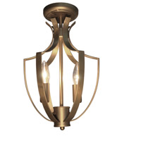 Newport 3 Light 10 inch Satin Brass Semi Flush Ceiling Light