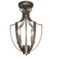 Newport 3 Light 10 inch Satin Nickel Semi Flush Ceiling Light
