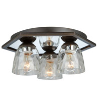 Kent 3 Light 18 inch Oil Rubbed Bronze Flush Mount Ceiling Light
