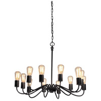 Vintage 12 Light 30 inch Black Chandelier Ceiling Light