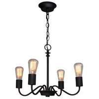 Vintage 4 Light 19 inch Black Chandelier Ceiling Light