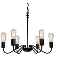 Vintage 6 Light 24 inch Black Chandelier Ceiling Light