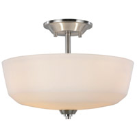 Hudson 3 Light 15 inch Brushed Nickel Semi Flush Ceiling Light