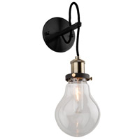 Artcraft AC10480 Edison 1 Light 5 inch Matte Black and Vintage Brass Wall Sconce Wall Light