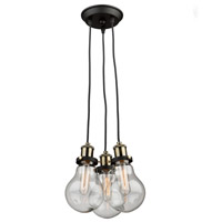 Edison 3 Light 11 inch Matte Black/Vintage Brass Chandelier Ceiling Light