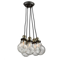 Edison 5 Light 16 inch Matte Black and Vintage Brass Chandelier Ceiling Light