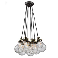 Edison 8 Light 20 inch Matte Black/Vintage Brass Chandelier Ceiling Light