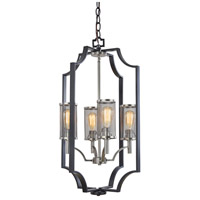 Oxford 4 Light 18 inch Matte Black and Antique Nickel Chandelier Ceiling Light