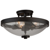 San Antonio 3 Light 15 inch Java Brown Semi Flush Mount Ceiling Light