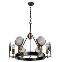Baker Street 6 Light 28 inch Slate/Vintage Brass Chandelier Ceiling Light