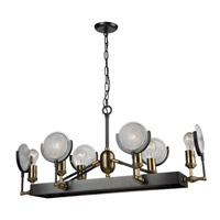 Baker Street 6 Light 36 inch Slate and Vintage Brass Island Light Ceiling Light