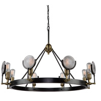 Artcraft AC10603 Baker Street 8 Light 43 inch Slate/Vintage Brass Chandelier Ceiling Light