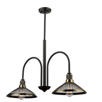 Wellington 2 Light 11 inch Matte Black/Vintage Brass Chandelier Ceiling Light