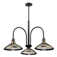 Wellington 3 Light 27 inch Matte Black/Vintage Brass Chandelier Ceiling Light