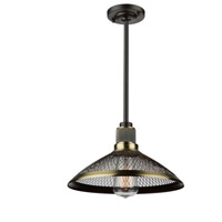 Wellington 1 Light 11 inch Matte Black/Vintage Brass Pendant Ceiling Light