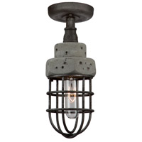 Loft 1 Light 5 inch Slate and Grey Semi Flush Ceiling Light