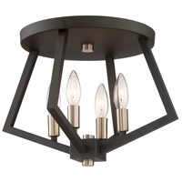 Breezy Point 4 Light 16 inch Bronze Flush Mount Ceiling Light
