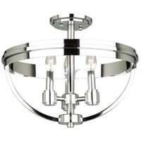 Roxbury 3 Light 16 inch Chrome Semi Flush Ceiling Light