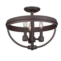 Roxbury 3 Light 16 inch Oil Rubbed Bronze Semi Flush Ceiling Light