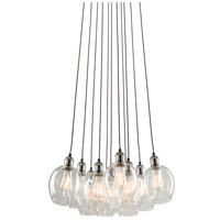 Clearwater 10 Light 22 inch Polish Nickel and Black Chandelier Ceiling Light in Polished Nickel