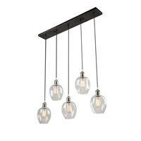 Clearwater 5 Light 33 inch Polish Nickel and Black Island Light Ceiling Light