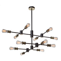 Tribeca 12 Light 36 inch Matte Black and Satin Brass Chandelier Ceiling Light
