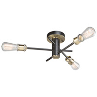 Tribeca 3 Light 19 inch Matte Black and Satin Brass Flush Mount Ceiling Light