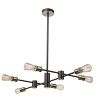 Tribeca 6 Light 20 inch Matte Black and Satin Brass Chandelier Ceiling Light