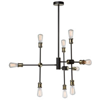 Tribeca 9 Light 35 inch Matte Black and Satin Brass Chandelier Ceiling Light