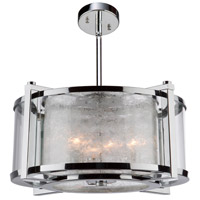 Crackled Ice 5 Light 20 inch Chrome Chandelier Ceiling Light