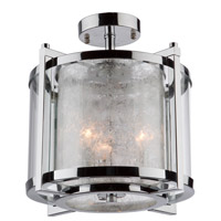 Crackled Ice 3 Light 13 inch Chrome Semi Flush Ceiling Light