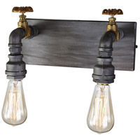 American Industrial 2 Light 7 inch Iron and Brass Wall Sconce Wall Light