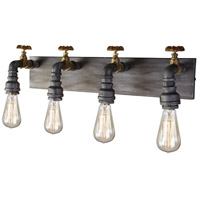 American Industrial 4 Light 7 inch Iron and Brass Wall Sconce Wall Light