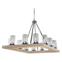 Canyon Creek 12 Light 25 inch Natural Light Wood/Chrome Chandelier Ceiling Light