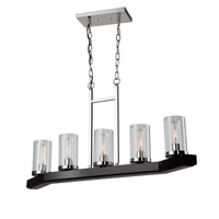 Canyon Creek 5 Light 36 inch Dark Wood/Chrome Island Light Ceiling Light
