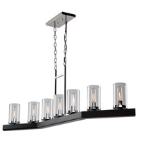 Canyon Creek 7 Light 49 inch Dark Wood and Chrome Island Light Ceiling Light in Dark Wood/Chrome
