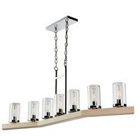 Artcraft AC10847LC Canyon Creek 7 Light 49 inch Natural Light Wood/Chrome Island Light Ceiling Light