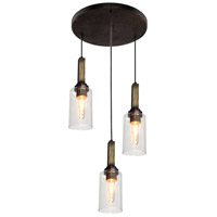 Home Glow 3 Light Distressed Pine Pendant Ceiling Light