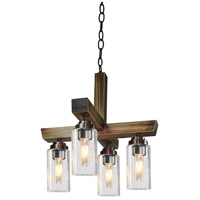 Home Glow 4 Light 18 inch Distressed Pine Chandelier Ceiling Light