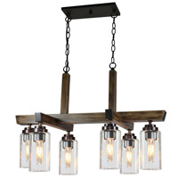 Home Glow 6 Light 18 inch Distressed Pine Chandelier Ceiling Light