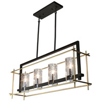 Riverview 4 Light 36 inch Oil Rubbed Bronze and Satin Brass Island Light Ceiling Light
