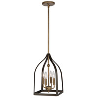 Worthington 4 Light 10 inch Oil Rubbed Bronze and Antiqe Gold Chandelier Ceiling Light
