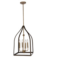 Artcraft AC11011 Worthington 4 Light 14 inch Oil Rubbed Bronze and Antiqe Gold Chandelier Ceiling Light